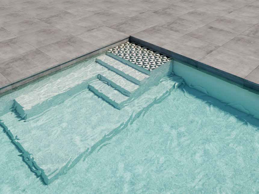 Stairs are an important element of the pool